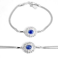 925 sterling silver 5.42cts natural blue sapphire topaz bracelet jewelry c19693