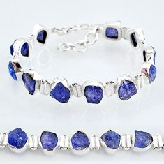 925 sterling silver 38.31cts natural blue tanzanite raw tennis bracelet t7748