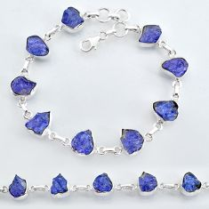 925 sterling silver 33.57cts natural blue tanzanite raw tennis bracelet t7764