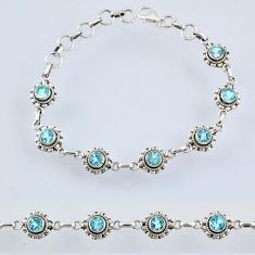 925 sterling silver 6.52cts natural blue topaz round tennis bracelet r55008