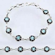 925 sterling silver 7.11cts natural blue topaz round tennis bracelet r55027