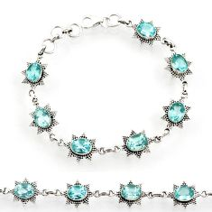 925 sterling silver 14.71cts natural blue topaz tennis bracelet jewelry d44284