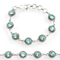 925 sterling silver 9.51cts natural blue topaz tennis bracelet jewelry d44295