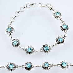 925 sterling silver 6.14cts natural blue topaz tennis bracelet jewelry r54951