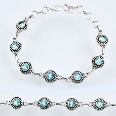 925 sterling silver 6.61cts natural blue topaz tennis bracelet jewelry r54994