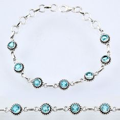 925 sterling silver 6.91cts natural blue topaz tennis bracelet jewelry r55057