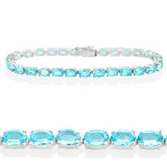 925 sterling silver 26.77cts natural blue topaz tennis bracelet jewelry t12289