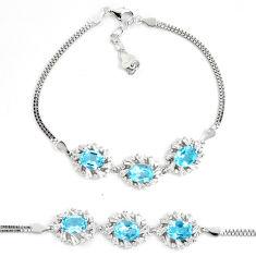 925 sterling silver 9.71cts natural blue topaz white topaz bracelet c19672