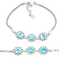 925 sterling silver 10.96cts natural blue topaz white topaz bracelet c19676