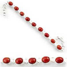 Clearance Sale- 925 sterling silver 36.26cts natural brown jasper red tennis bracelet d44328