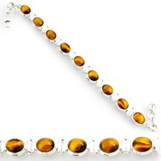 925 sterling silver 38.72cts natural brown tiger's eye tennis bracelet d44375