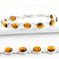 925 sterling silver 37.43cts natural brown tiger's eye tennis bracelet r39038