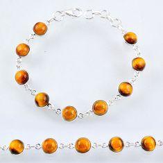 925 sterling silver 25.93cts natural brown tiger's eye tennis bracelet r55098
