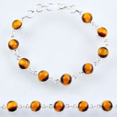 925 sterling silver 25.84cts natural brown tiger's eye tennis bracelet r55099