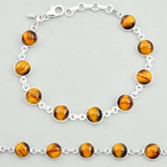 925 sterling silver 24.19cts natural brown tiger's eye tennis bracelet t19698