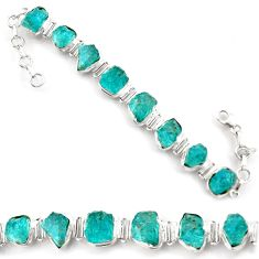 925 sterling silver 61.05cts natural green apatite rough tennis bracelet d45848