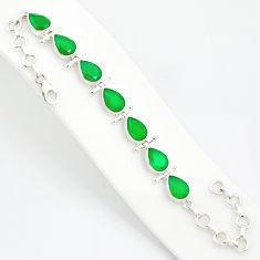 925 sterling silver 20.54cts natural green chalcedony tennis bracelet r84878