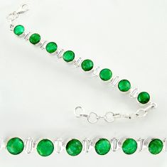 925 sterling silver 20.18cts natural green emerald tennis bracelet d47635