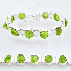 925 sterling silver 37.41cts natural green peridot raw tennis bracelet t6724
