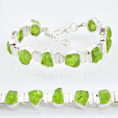 925 sterling silver 41.98cts natural green peridot raw tennis bracelet t6728