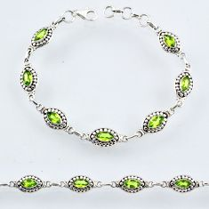 925 sterling silver 9.23cts natural green peridot tennis bracelet r54929