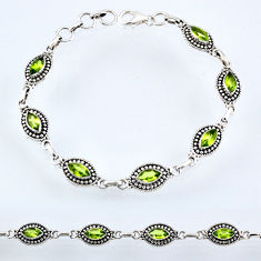 925 sterling silver 9.43cts natural green peridot tennis bracelet r54992