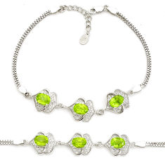 925 sterling silver 9.72cts natural green peridot topaz bracelet jewelry c19748