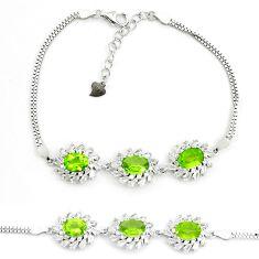 925 sterling silver 13.81cts natural green peridot topaz tennis bracelet c19718