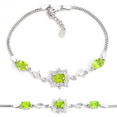 925 sterling silver 10.04cts natural green peridot white topaz bracelet c19750