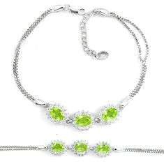 925 sterling silver 7.38cts natural green peridot white topaz bracelet c19757