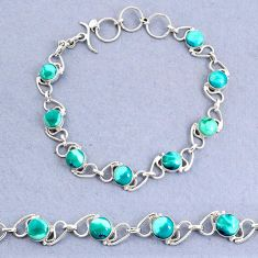 925 sterling silver 15.25cts natural green turquoise tibetan bracelet t8464