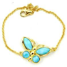 925 sterling silver natural larimar 14k gold butterfly bracelet a63391 c13920