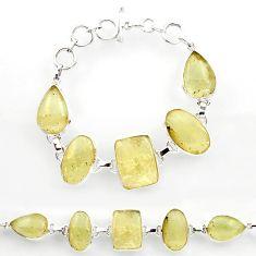925 sterling silver 61.15cts natural libyan desert glass tennis bracelet r27505