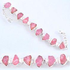 925 sterling silver 64.19cts natural pink morganite rough tennis bracelet r61772