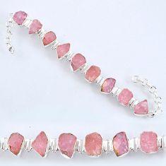 925 sterling silver 61.49cts natural pink morganite rough tennis bracelet r61776