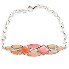 925 sterling silver natural pink opal 14k gold bracelet jewelry a59364 c13947