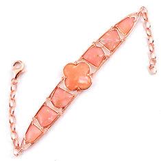 925 sterling silver natural pink opal fancy 14k rose gold bracelet a59343 c13924