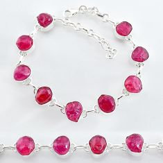 925 sterling silver 35.38cts natural pink ruby raw tennis bracelet t7792