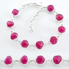 925 sterling silver 35.83cts natural pink ruby raw tennis bracelet t7798