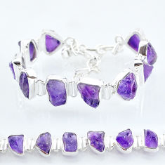 925 sterling silver 40.55cts natural purple amethyst raw tennis bracelet t6713