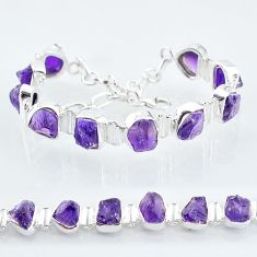 925 sterling silver 37.47cts natural purple amethyst raw tennis bracelet t6717