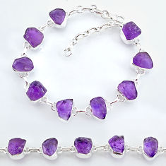 925 sterling silver 31.18cts natural purple amethyst raw tennis bracelet t7809