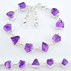925 sterling silver 28.74cts natural purple amethyst raw tennis bracelet t7813