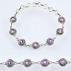 925 sterling silver 5.92cts natural purple amethyst tennis bracelet r54948