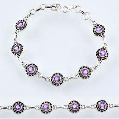 925 sterling silver 5.69cts natural purple amethyst tennis bracelet r54963