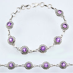 925 sterling silver 6.39cts natural purple amethyst tennis bracelet r54990
