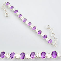 925 sterling silver 20.54cts natural purple amethyst tennis bracelet r87066