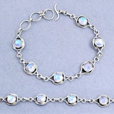 925 sterling silver 14.79cts natural rainbow moonstone bracelet jewelry t8478