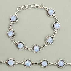 925 sterling silver 20.85cts natural rainbow moonstone tennis bracelet r25130