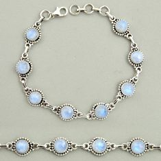 925 sterling silver 25.42cts natural rainbow moonstone tennis bracelet r25134